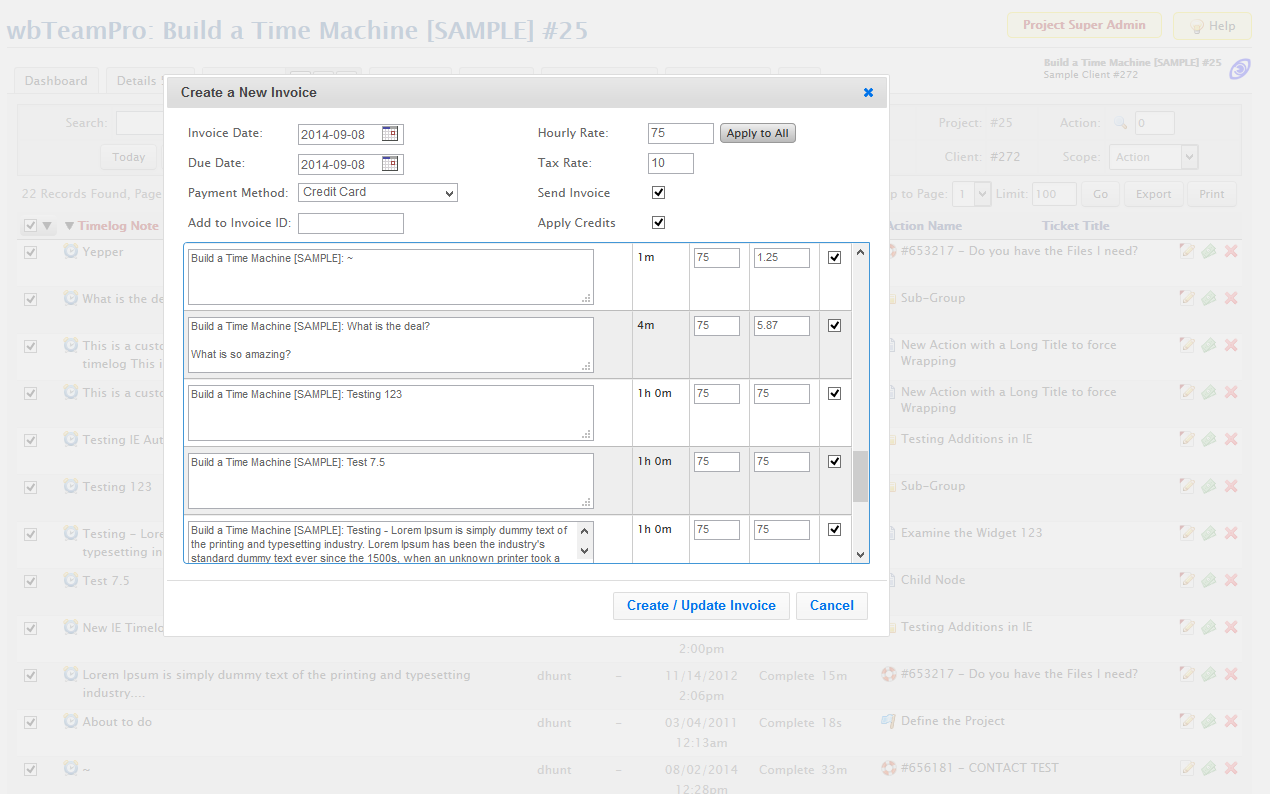 Project Timelog Invoice Dialog